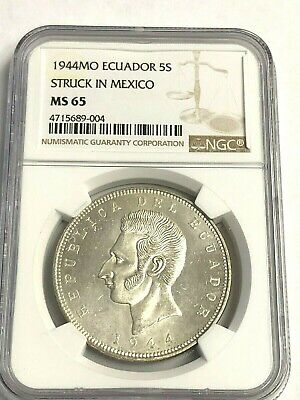 1944 ECUADOR 5 SUCRES, Mexico City, NGC MS-65