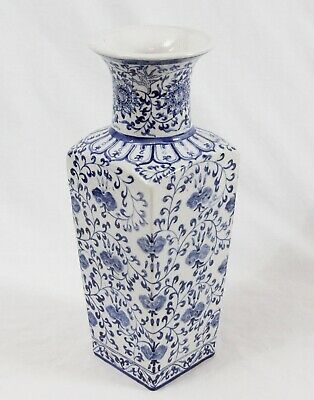 """Antique 19th C. Chinese Porcelain 14"""" Blue White Square Vase Painted Signed"""