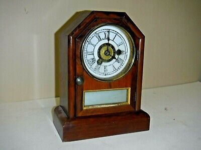 Antique Seth Thomas, Connecticut Cottage Clock Working +Alarm Mirror Front + Key