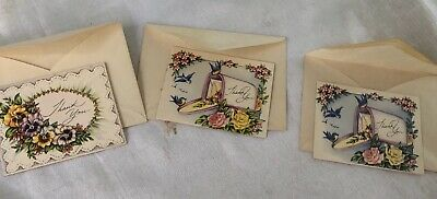 Vintage  Thank You Cards And Envelopes 8.5 X 7 Cm In Ex Unused Cond.