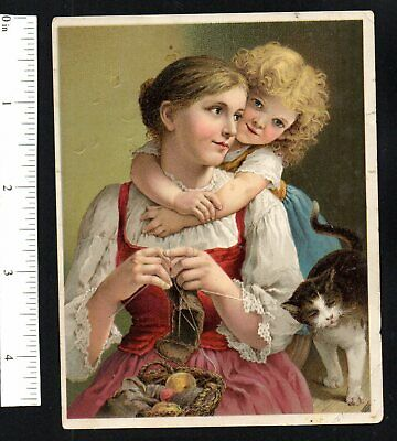 My Mama W/Cat Dr Jayne's Tonic Vermifuge 1880'S Victorian Advertising Trade Card