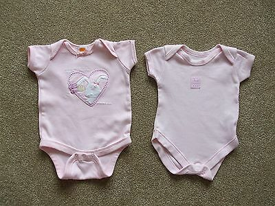 2 X Baby Girls 0-3 Months 6.5Kg Pink Short Sleeved Baby Vests. 33Cm Long