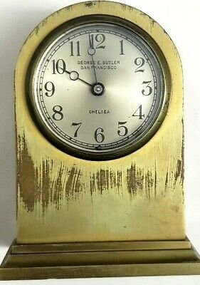 "Chelsea Clock Co Boston Usa 5"" Brass Cathedral George E.butler San Francisco Vtg"