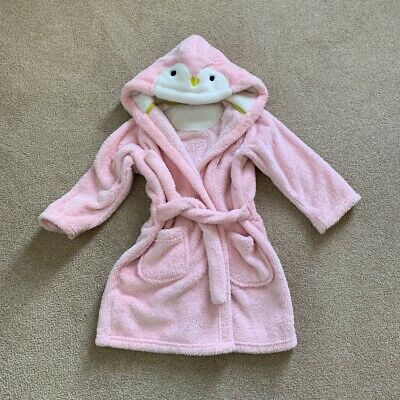 M&S - Girls Pink  Dressing Gown / Bathrobe - Age 3-4 Years