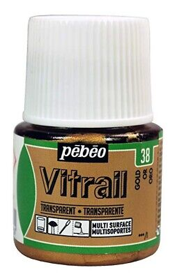 Pebeo Vitrail Stained Glass Effect Paint 45ml TRANSPARENT- GOLD NEW!