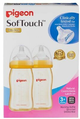 Pigeon Wide Neck PPSU Bottle with SofTouch Peristaltic Plus Teat - 240ml - 2
