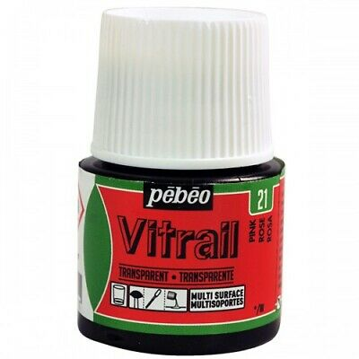 Pebeo Vitrail Stained Glass Effect Paint 45ml TRANSPARENT-Pink New!