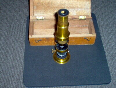Antique Late Victorian  Drum Type Brass Microscope & Box,