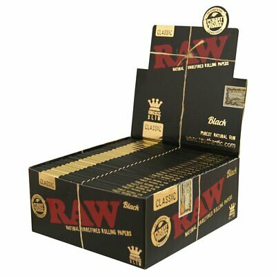 RAW Black Natural Hemp Unrefined Rolling Papers King Size - Full Sealed box -50x