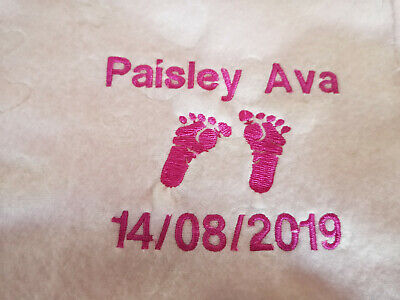 Personalised embroidered baby blanket: white, pink, blue, soft, gift, any text