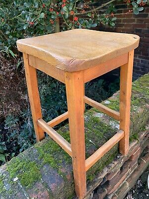Vintage Elm School Science Lab Stool