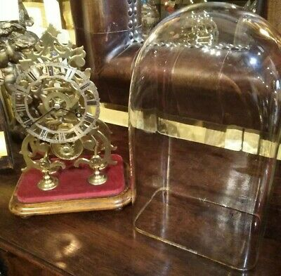 Antique skeleton mantle clock, 8 day fusee movement, original glass dome,