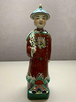 """Hand Painted Porcelain Figurine Chinese Man Signed on Bottom 11.25"""" tall"""