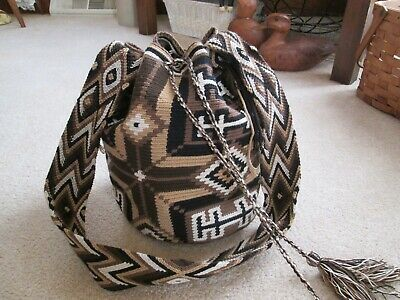 Vtg Navaho Southwest  Boho Hippie Woven Bucket Tote Bag Purse Drawstring Close