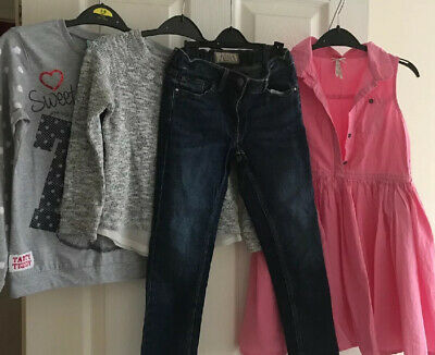 Small Bundle Of Girls Clothes 7-8 And 7 Years Next Dress Jeans Tops Tatty Teddy