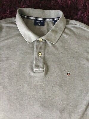 Super Cool 100% Genuine Mens Gant Grey Polo Shirt In XL