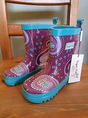 Sugar Pink Kids Girls Wellies Childrens 5 / 7 (Joules esque)RRP £24.99