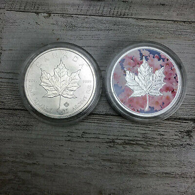 Lot of 2 - 2019 $5 1oz Silver Canadian Maple Leaf  - .9999 BU Colorized In Caps