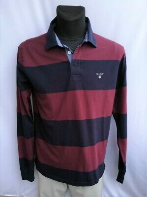 GANT Men's  Multi Color Stripe 100% Cotton Long Sleeve Polo Shirt Size L