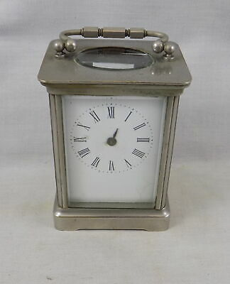 Antique 8 Day Nickel Plated Carriage Clock - Spares Or Repair
