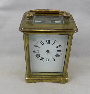 French Antique 8 Day Brass Carriage Clock - Spares Or Repair