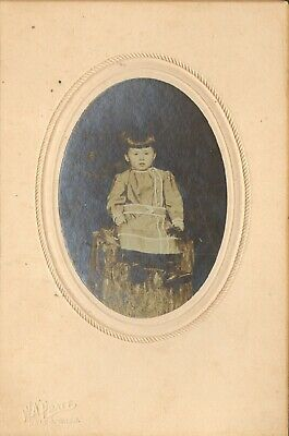 Vintage Cabinet Card Little Girl Long Dress sits on a Stump W.A. PRATER Kelso WA