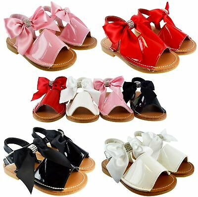 Kids Childrens Infants Girls Diamante Bow Spanish Patent Summer Peep Tow Sandals