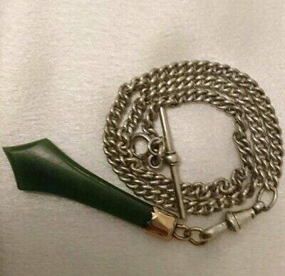 Superb English Antique   Sterling Silver Albert Chain And Gold Green Stone Fob