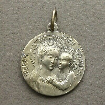 Vatican Antique Silver Plated Religious Pendant Virgin Mary Pope Pius XI Medal