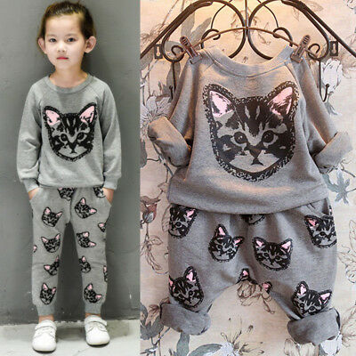 Unisex Kids Girls Outfits Sets Cat Tracksuit Sweatshirt Tops Casual Long Pants