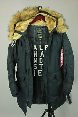 Alpha Industries PPS n3b Parka Giacca Nero Blu 133148 Inverno Giacca Cappotto Nuovo