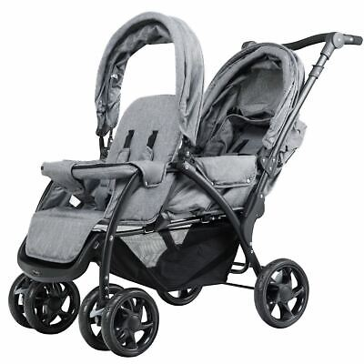 Durable Foldable Lightweight Front Back Seats Double Baby Stroller-Gray