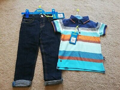 Baker by Ted Baker BNWT Boys Dark Blue Jeans and Short Sleeve Top Age 2-3 years