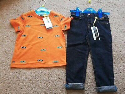 Baker by Ted Baker BNWT Boys Dark Blue Jeans & Short Sleeve Top Age 2-3 years