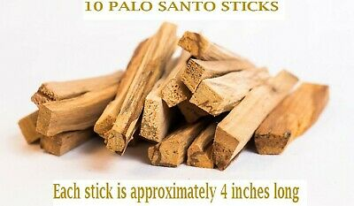 10  PCS  PALO SANTO STICKS (Bursera graveolens) HOLY WOOD INCENSE 4 inches long