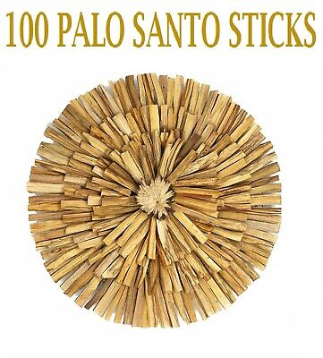 100  PCS  PALO SANTO STICKS (Bursera graveolens) HOLY WOOD INCENSE 4 inches long