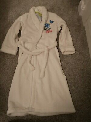 Girls white M&S Dressing Gown Age 11-12 with embroidered flowers on front & back