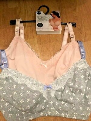 BNWT M&S 2 pack  Maternity Nursing T Shirt Bras Non Wired Cotton 34F pink  grey