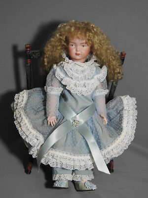 """Antique Reproduction Kley & Hahn German Doll 15"""" Hand Painted Face Bisque Bjd"""