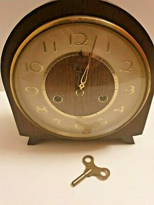 Antique vintage Smiths wooden mantle Mantel wind up mechanical clock with key