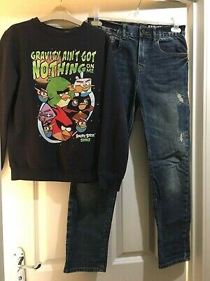NEXT Boys Sweatshirt Angry Birds Hoody + Jeans (NEW!) / Age 12 years