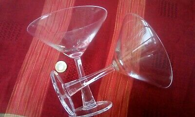 Pair of Cocktail Martini Glasses Two Large Drinking Alcohol Alcoholic Beverages