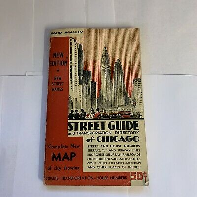1944 Rand-McNally Chicago Map New Edition Vintage