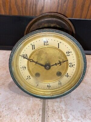 Antique Hamburg American Clock Co. French Style Round Clock Movement For Repair