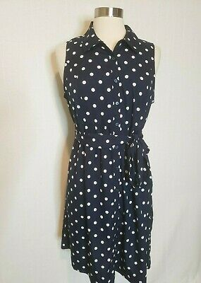 Motherhood Maternity Womens Summer Dress Size Large Blue Polka Dots Sleeveless