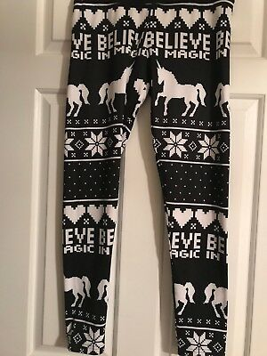 NWT Girls Justice Active Size 18 High Waist Leggings w/Unicorns & Snowflakes