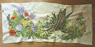 """Paragon """"Forest Reborn"""" Wild Flowers Tree Crewel Embroidery Completed Finished"""