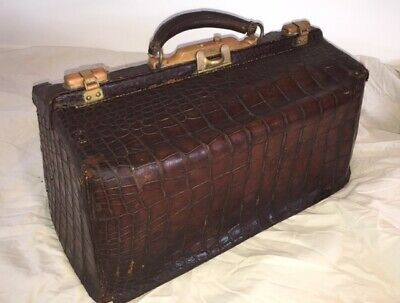 ALLIGATOR and BRASS EDWARDIAN  DOCTORS  BAG  PATENTED  SEPT.1877
