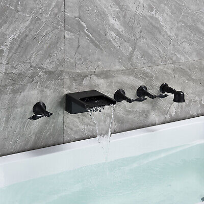 Waterfall Wall Mount Tub Faucet Bathroom Mixer Shower Tap Oil-Rubbed Bronze US