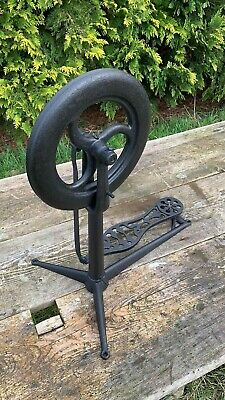 Fantastic Vintage Antique Cast Iron Foot Pedal Powered Wheel *